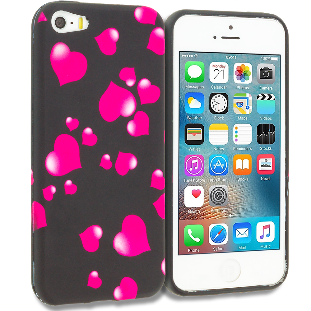 Apple iPhone 5/5S/SE Combo Pack : Rainbow Hearts Black TPU Design Soft Rubber Case Cover : Color Raining Hearts