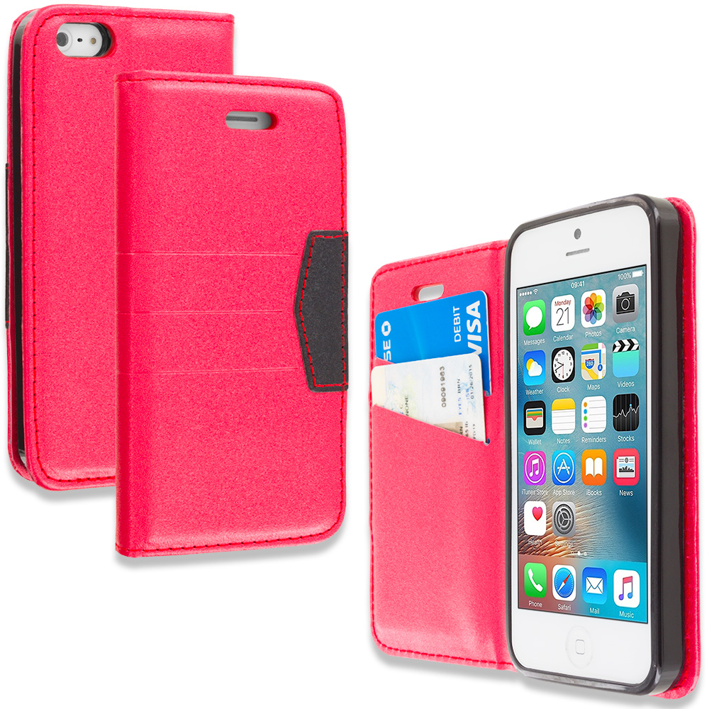 Apple iPhone 5/5S/SE Combo Pack : Gold Wallet Flip Leather Pouch Case Cover with ID Card Slots : Color Red