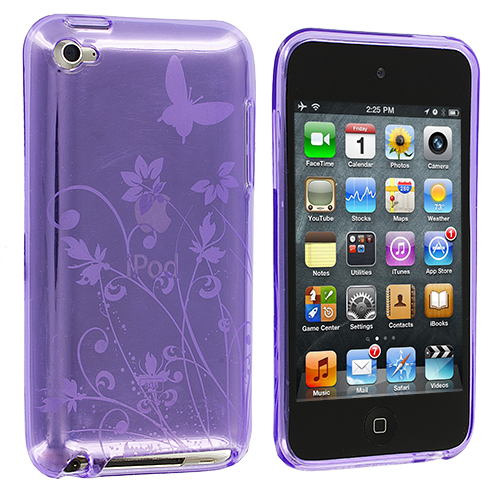 Apple iPod Touch 4th Generation Purple Flower TPU Rubber Skin Case Cover