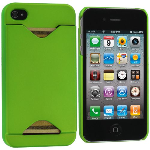 Apple iPhone 4 Neon Green Hard Rubberized Credit Card ID Case Cover