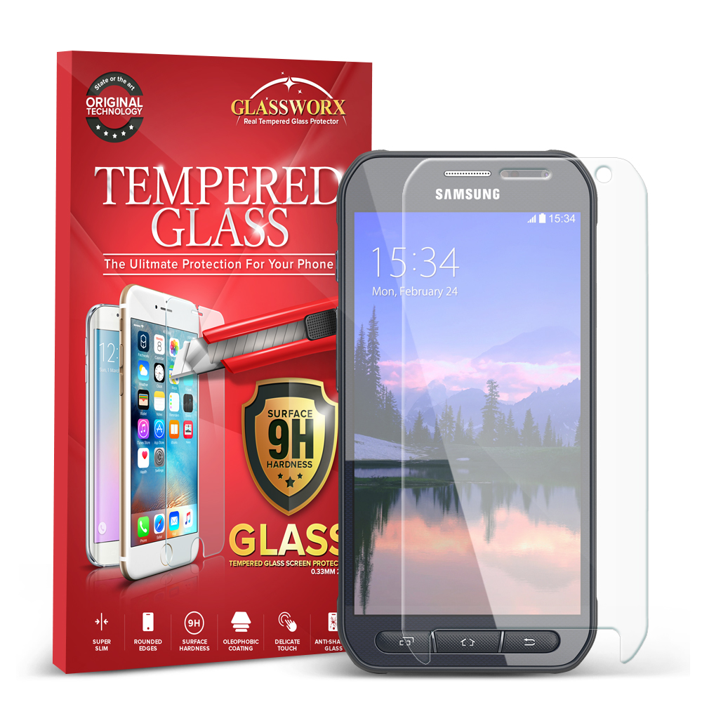 Samsung Galaxy S6 Active Clear GlassWorX HD Tempered Glass Screen Protector