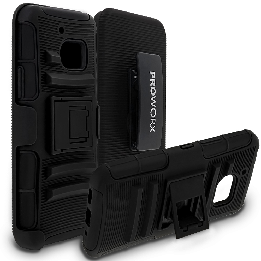 HTC One 10 M10 ProWorx Black Heavy Duty Shock Absorption Armor Defender Case Cover With Belt Clip Holster
