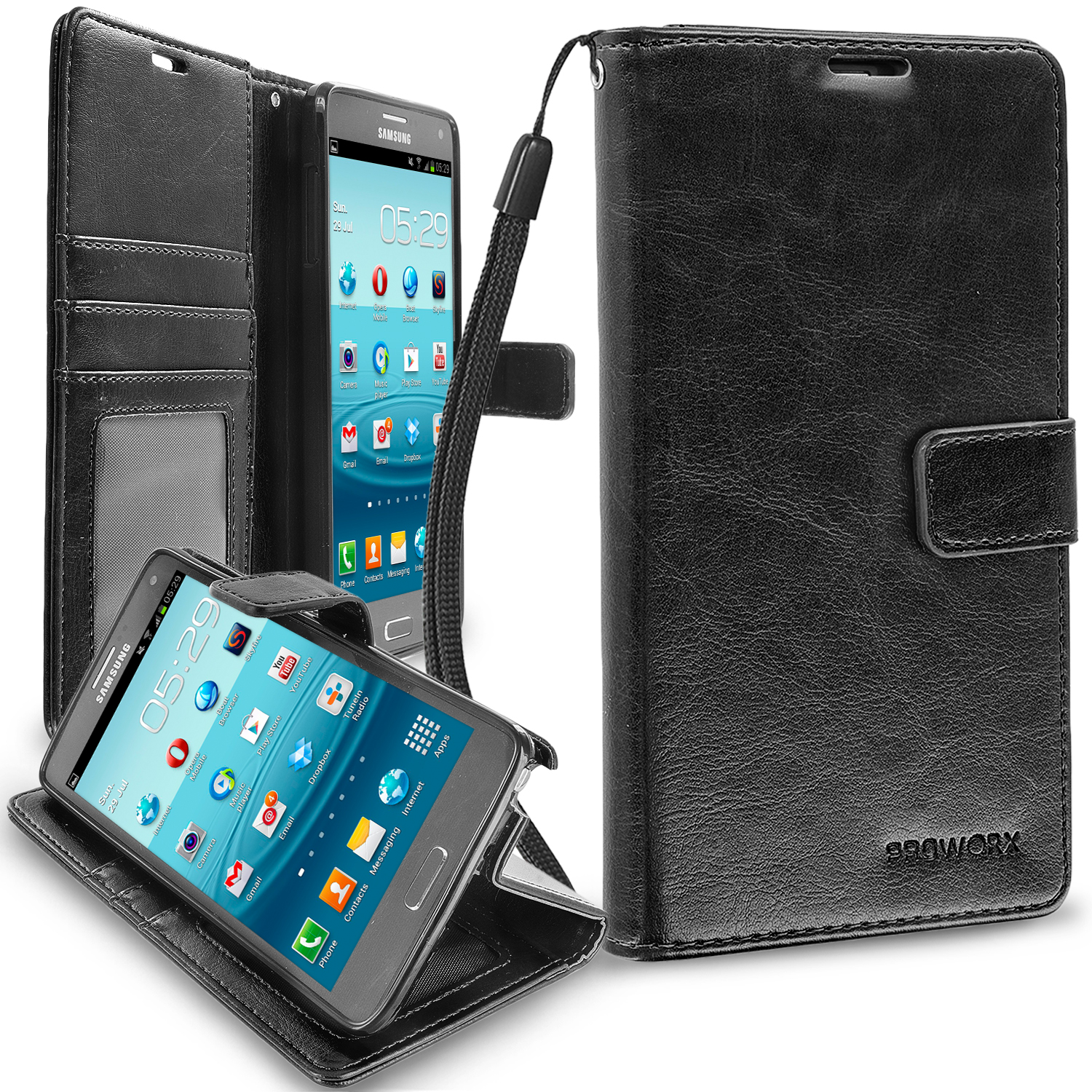 Samsung Galaxy Note 4 Black ProWorx Wallet Case Luxury PU Leather Case Cover With Card Slots & Stand