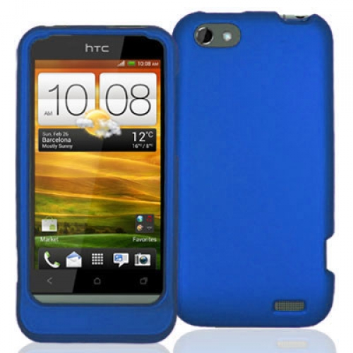 HTC One V Blue Hard Rubberized Case Cover