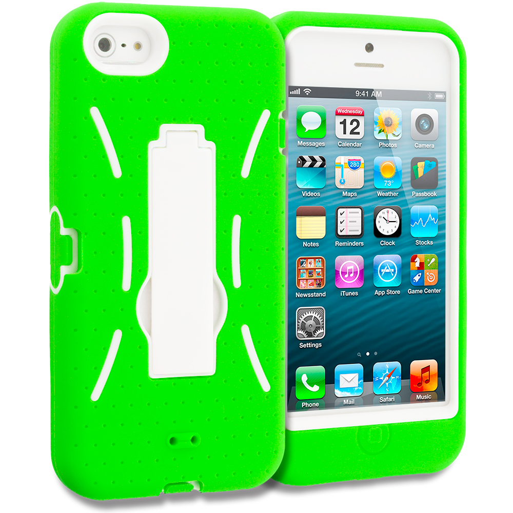 Apple iPhone 5/5S/SE Neon Green / White Hybrid Heavy Duty Hard/Soft Case Cover with Stand