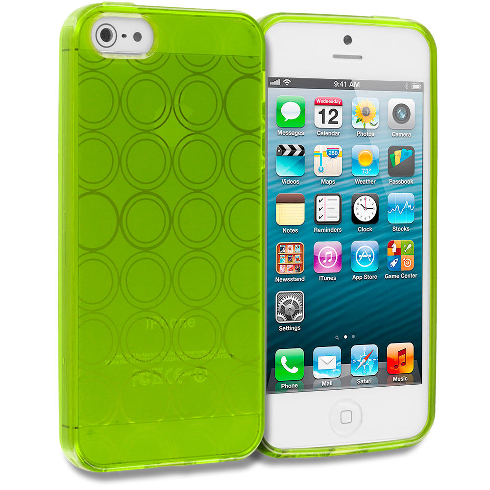 Apple iPhone 5/5S/SE Combo Pack : Clear Circles TPU Rubber Skin Case Cover : Color Neon Green Circles