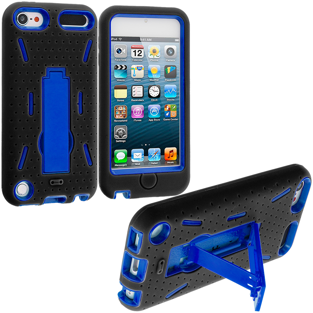 Apple iPod Touch 5th 6th Generation Black / Blue Hybrid Heavy Duty Hard/Soft Case Cover with Stand