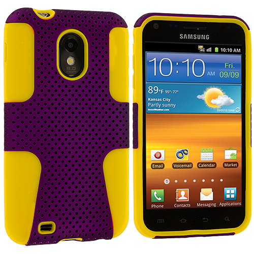 Samsung Epic Touch 4G D710 Sprint Galaxy S2 Yellow / Purple Hybrid Mesh Hard/Soft Case Cover