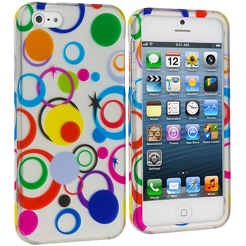 Apple iPhone 5/5S/SE Combo Pack : Colorful Circle on White Hard Rubberized Design Case Cover : Color Colorful Circle on White