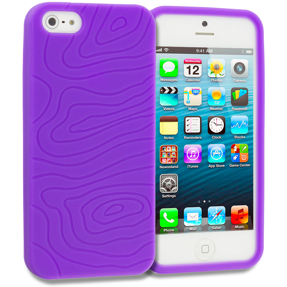 Apple iPhone 5/5S/SE Purple Earth Silicone Soft Skin Case Cover