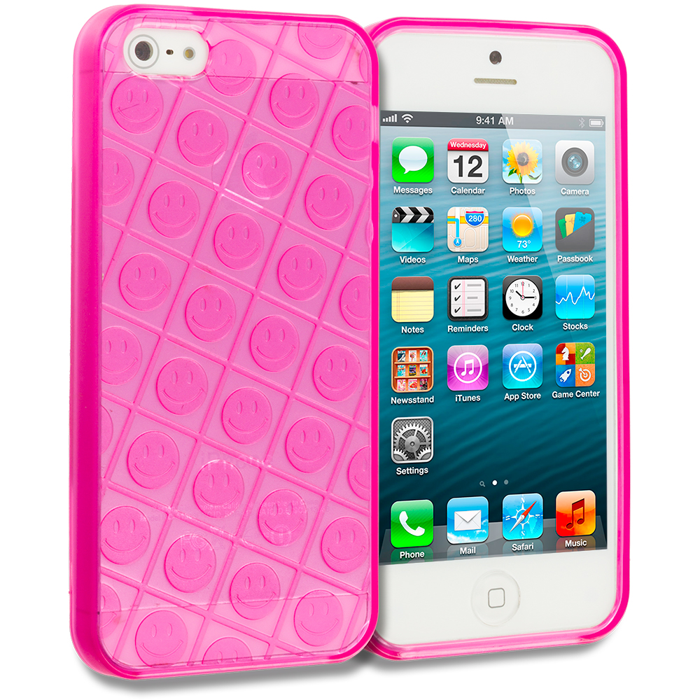 Apple iPhone 5/5S/SE Pink Happy Face TPU Rubber Skin Case Cover