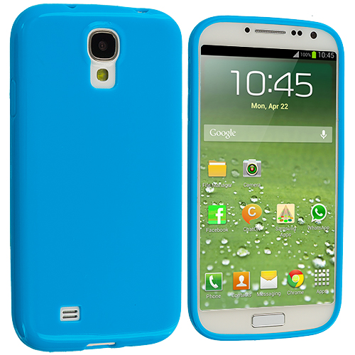 Samsung Galaxy S4 Blue Solid TPU Rubber Skin Case Cover