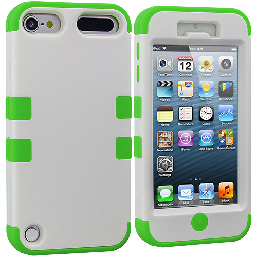 Apple iPod Touch 5th 6th Generation Neon Green / White Hybrid Tuff Hard/Soft 3-Piece Case Cover