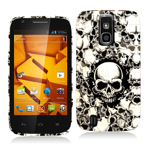 ZTE Force N9100 Black White Skulls Hard Rubberized Design Case Cover