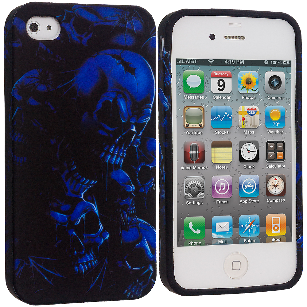 Apple iPhone 4 / 4S Black Blue Skull TPU Design Soft Case Cover