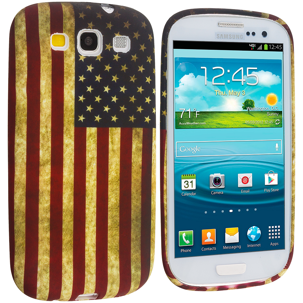 Samsung Galaxy S3 USA Flag TPU Design Soft Case Cover