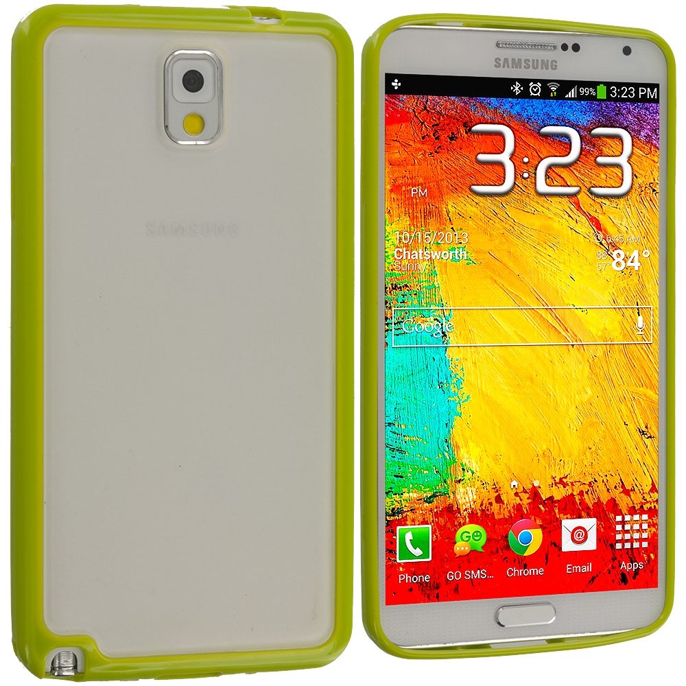 Samsung Galaxy Note 3 N9000 Neon Green TPU Plastic Hybrid Case Cover