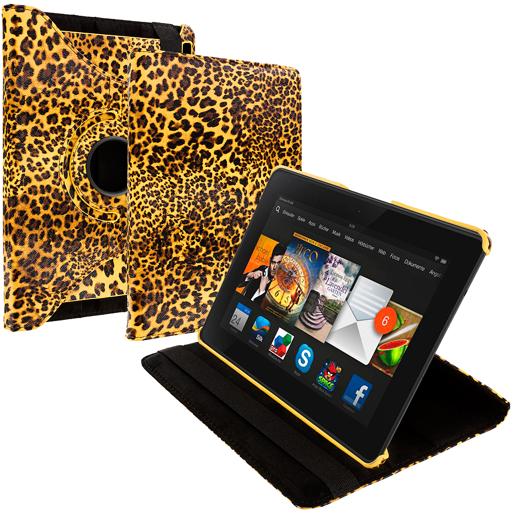 Amazon Kindle Fire HDX 7 Yellow Leopard 360 Rotating Leather Pouch Case Cover Stand