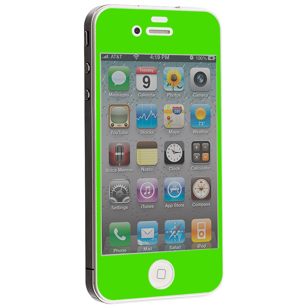 Apple iPhone 4 / 4S Neon Green LCD Tempered Glass Screen Protector
