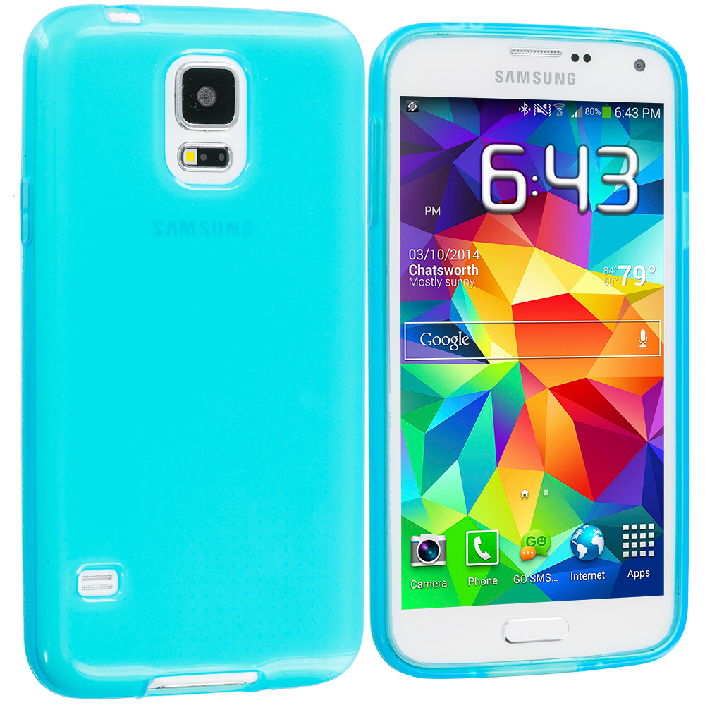 Samsung Galaxy S5 Baby Blue Transparent TPU Rubber Skin Case Cover