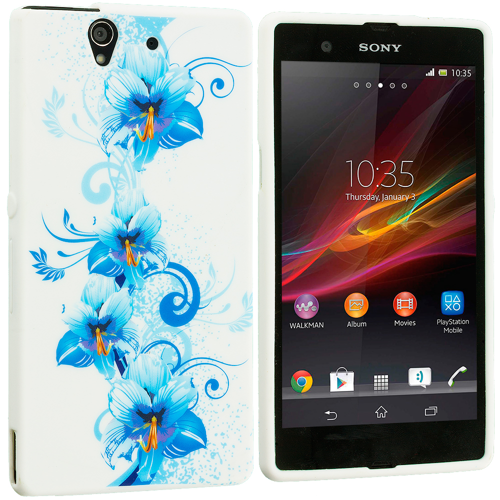 Sony Xperia Z Blue White FLower TPU Design Soft Case Cover