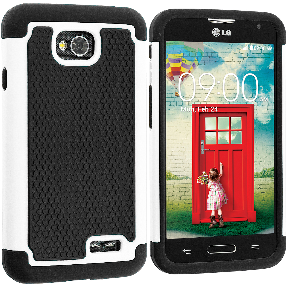 LG Optimus L70 Exceed 2 Realm LS620 Black / White Hybrid Rugged Hard/Soft Case Cover