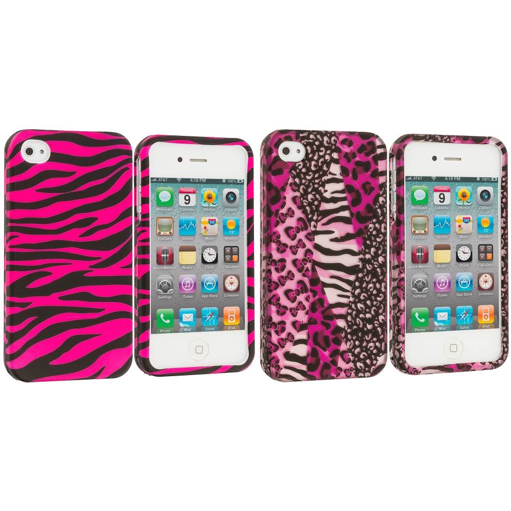 Apple iPhone 4 / 4S 2 in 1 Combo Bundle Pack - Zebra 2D Hard Rubberized Design Case Cover