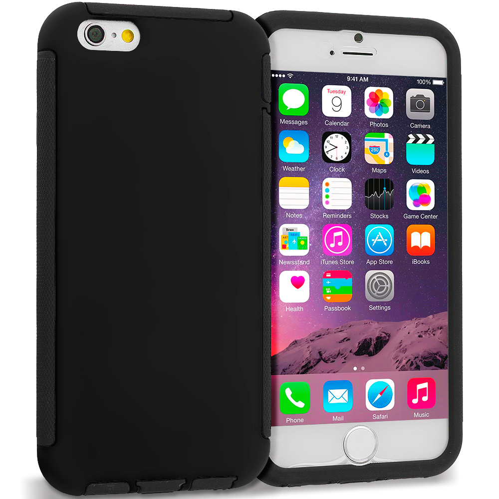 Apple iPhone 6 Plus 6S Plus (5.5) Black / Black Hybrid Hard TPU Shockproof Case Cover With Built in Screen Protector