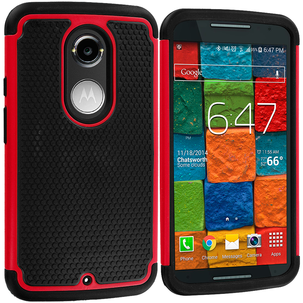 Motorola Moto X 2nd Gen Black / Red Hybrid Rugged Grip Shockproof Case Cover