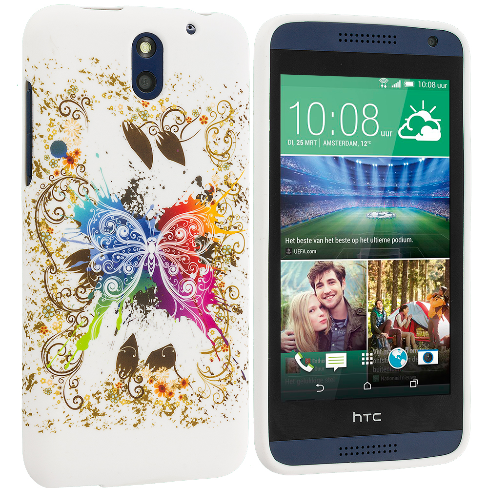 HTC Desire 610 Colorful Butterfly TPU Design Soft Rubber Case Cover