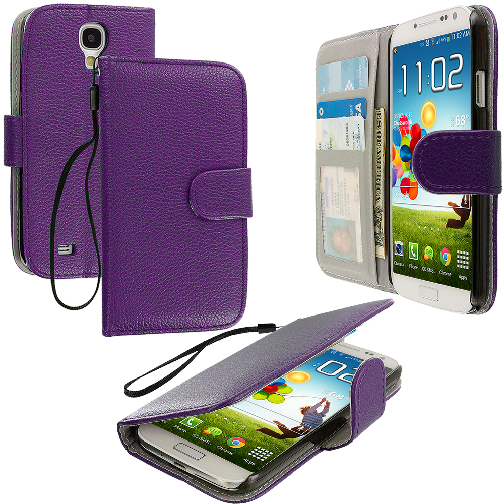 Samsung Galaxy S4 Purple Leather Wallet Pouch Case Cover with Slots