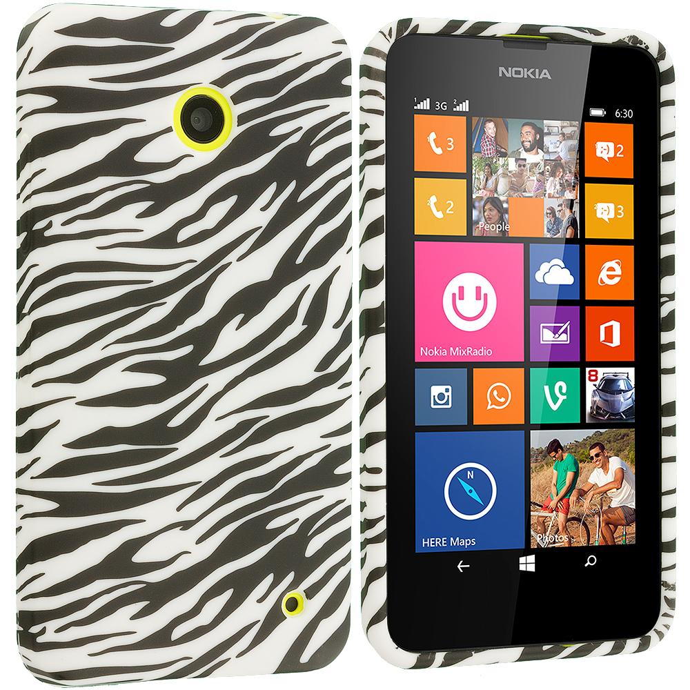 Nokia Lumia 630 635 Black White Zebra TPU Design Soft Rubber Case Cover