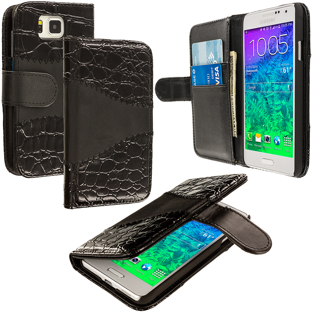 Samsung Galaxy Alpha G850 Black Crocodile Leather Wallet Pouch Case Cover with Slots