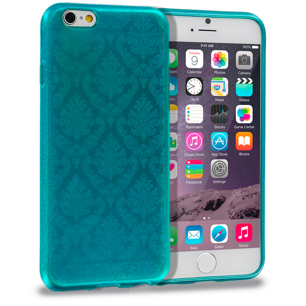 Apple iPhone 6 Plus 6S Plus (5.5) Teal TPU Damask Designer Luxury Rubber Skin Case Cover