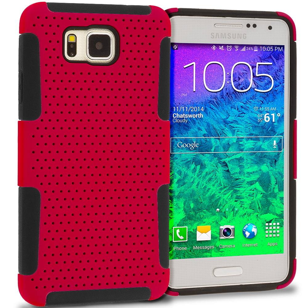 Samsung Galaxy Alpha G850 Black / Red Hybrid Mesh Hard/Soft Case Cover