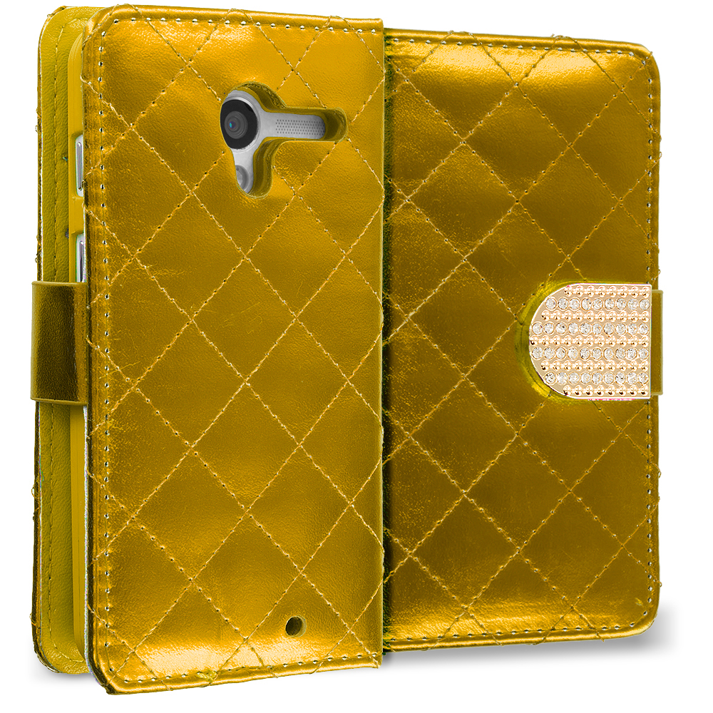 Motorola Moto G Gold Luxury Wallet Diamond Design Case Cover With Slots