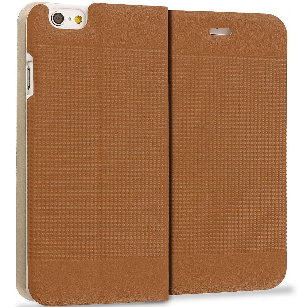 Apple iPhone 6 Plus 6S Plus (5.5) Brown Slim Wallet Flip Design Case Cover