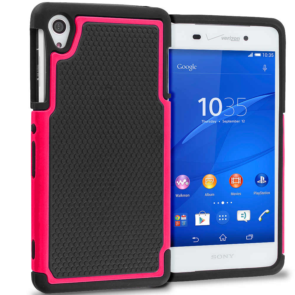 Sony Xperia Z3 Black / Hot Pink Hybrid Rugged Grip Shockproof Case Cover