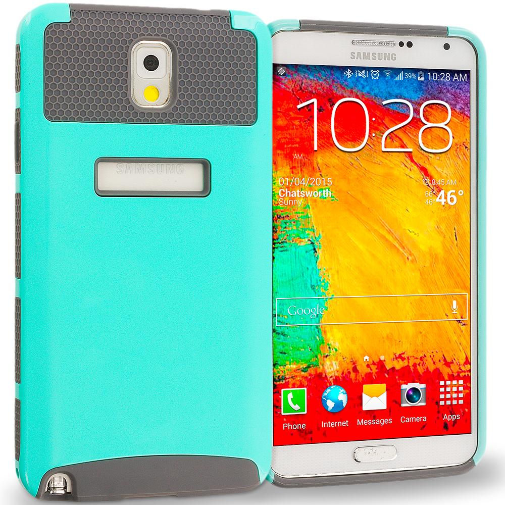 Samsung Galaxy Note 3 N9000 Mint / Grey Hybrid Hard TPU Honeycomb Rugged Case Cover