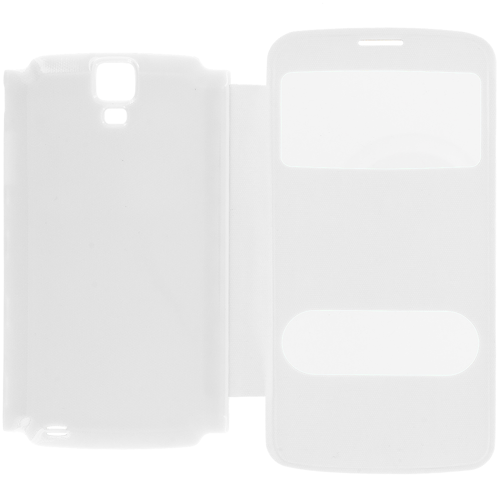 Samsung Galaxy S4 Active i537 White Battery Door Rear Replacement Ultra Slim Wallet Flip Case Cover