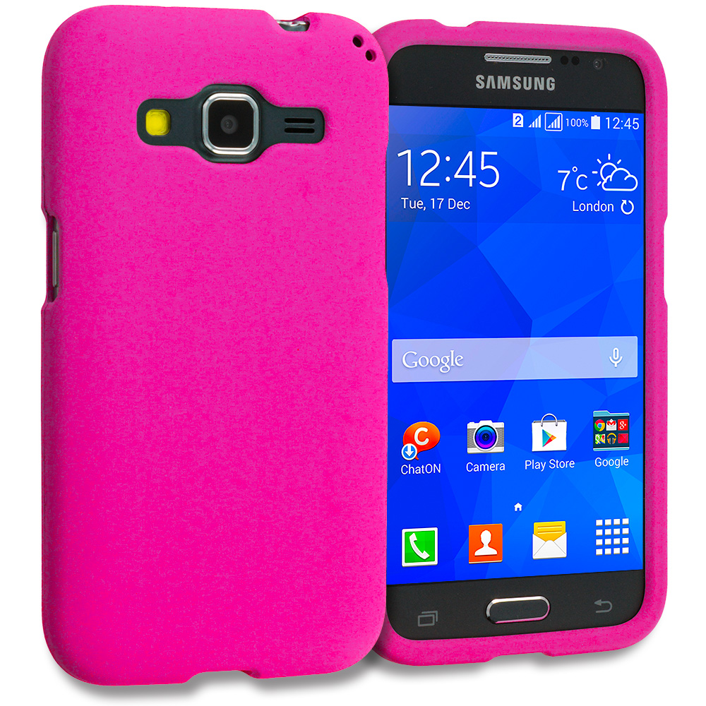 Samsung Galaxy Prevail LTE Core Prime G360P / Prevail LTE 2 in 1 Combo Bundle Pack - White Pink Hard Rubberized Case Cover : Color Hot Pink