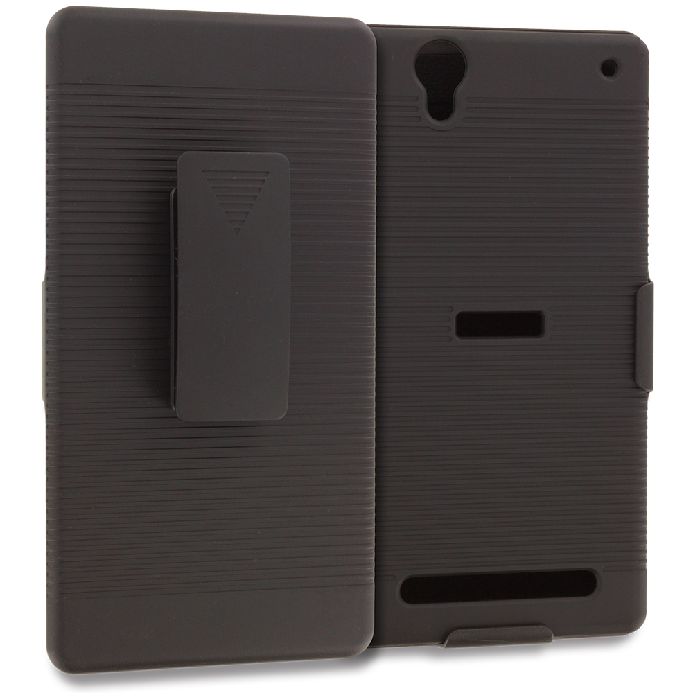 Sony Xperia T2 Ultra D5303 Black Belt Clip Holster Hard Case Cover