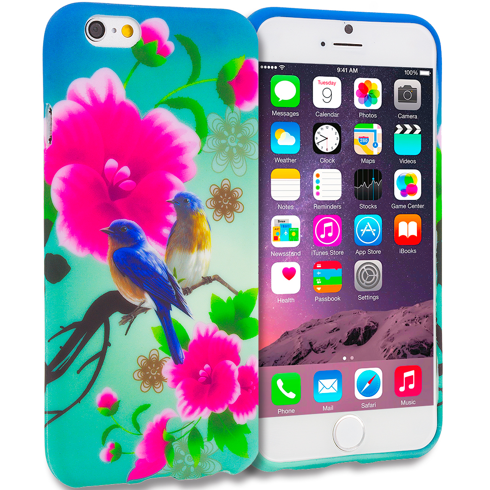 Apple iPhone 6 6S (4.7) 11 in 1 Combo Bundle Pack - TPU Design Soft Rubber Case Cover : Color Blue Bird Pink Flower