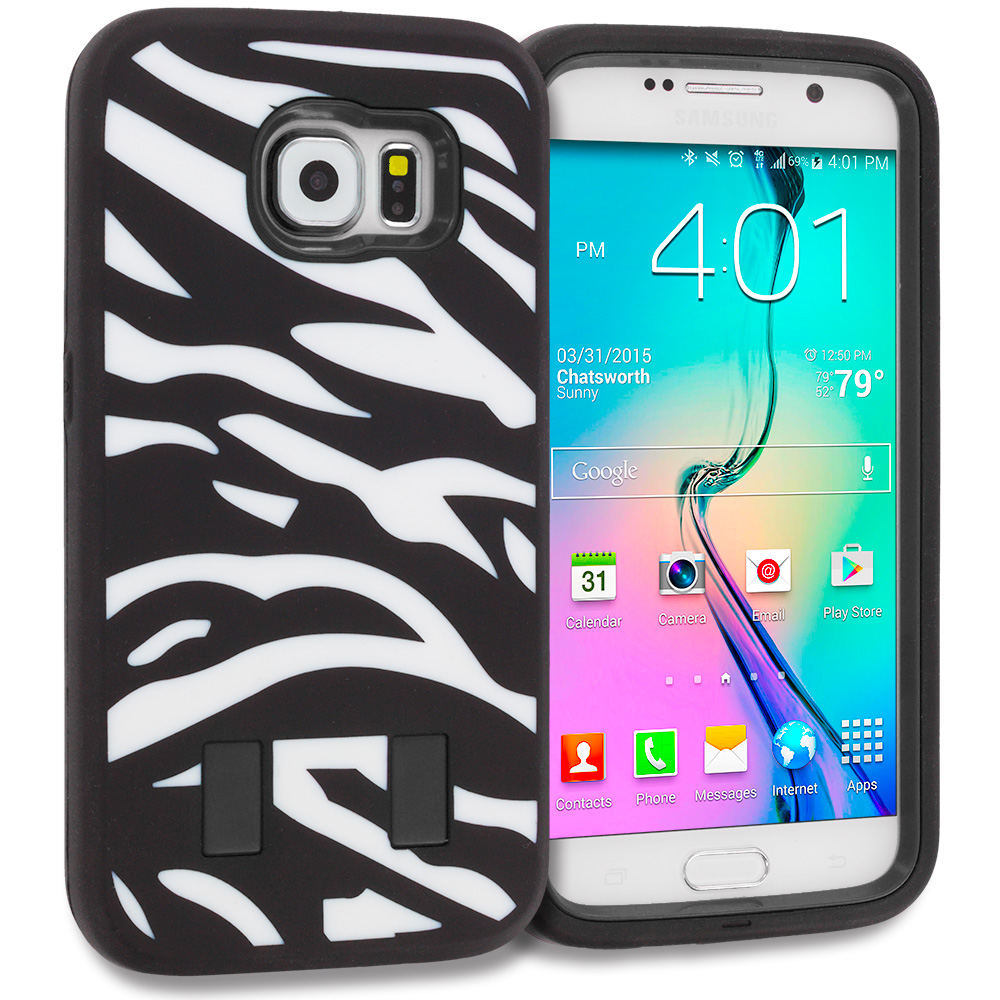 Samsung Galaxy S6 2 in 1 Combo Bundle Pack - Black Hybrid Deluxe Hard/Soft Case Cover : Color Zebra Black