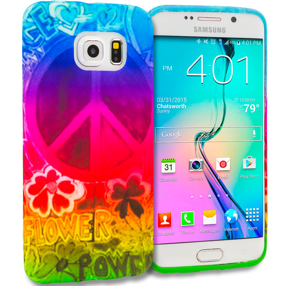 Samsung Galaxy S6 Edge Flower Power TPU Design Soft Rubber Case Cover