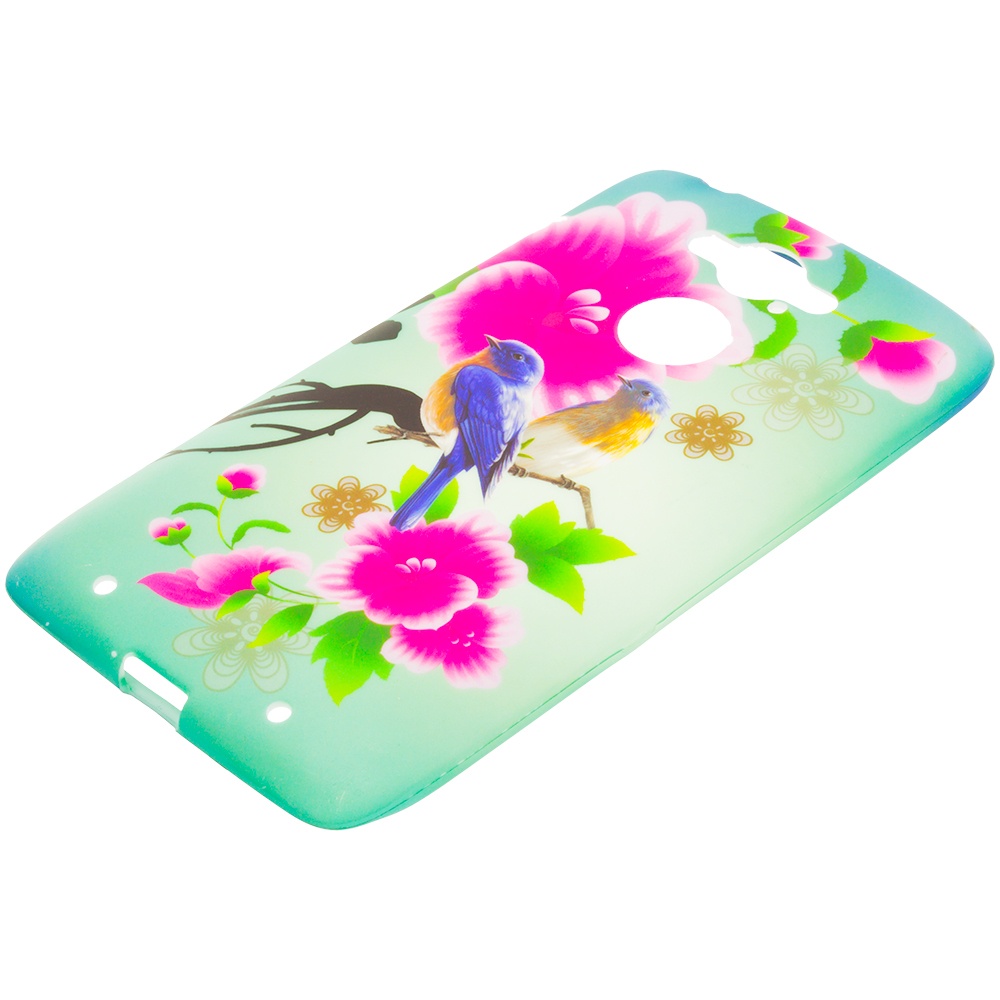 Motorola Droid Turbo Blue Bird Pink Flower TPU Design Soft Rubber Case Cover
