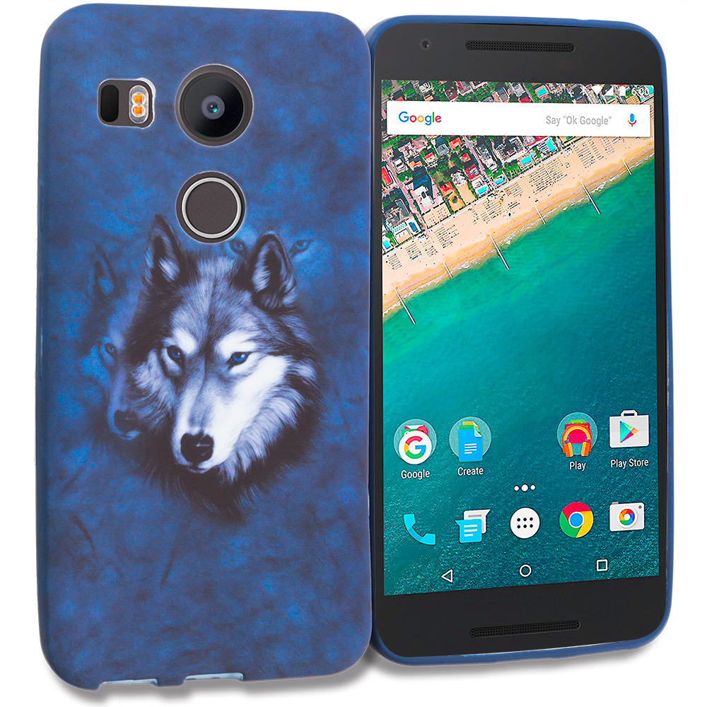 LG Google Nexus 5X Wolf TPU Design Soft Rubber Case Cover