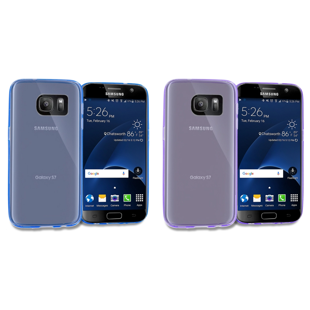 Samsung Galaxy S7 Combo Pack : Blue TPU Rubber Skin Case Cover