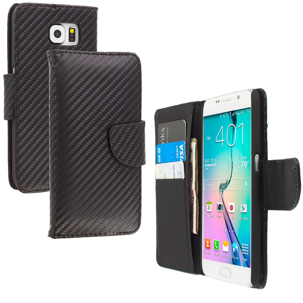 Samsung Galaxy S6 Wallet Carbon Fiber Leather Wallet Pouch Case Cover with Slots