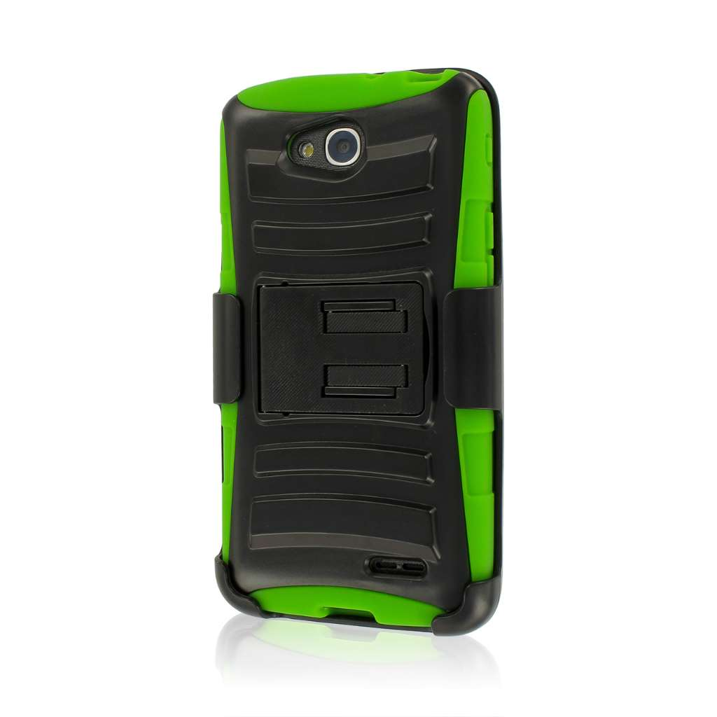 LG Optimus L90 - Neon Green MPERO IMPACT XT - Stand Case Belt Clip Holster